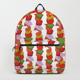 Grilled Veggies - BBQ Doodle Pattern in White Backpack