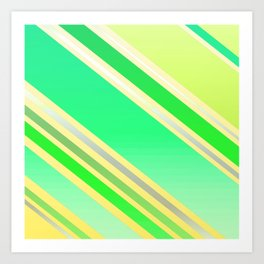 Shiny Stripes in Green and Yellow Art Print
