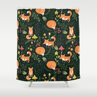 foxes Shower Curtains featuring Foxes by Julia Badeeva