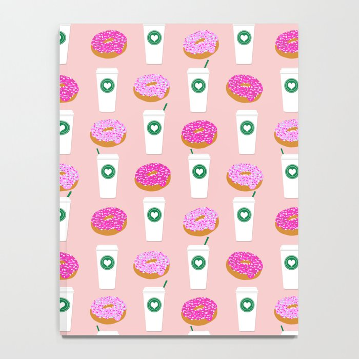 Coffee and donuts cute latte breakfast food pattern print pastel pink girly coffee cell phone cases Notebook