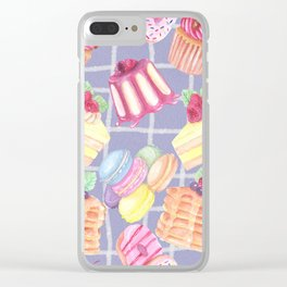 Desserts Pattern Cute Sweet Tooth Colorful Cupcakes Donuts Cakes Cookies Clear iPhone Case