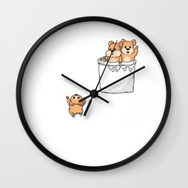 Cute Pocket Hamsters Wall Clock