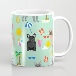 French Bulldog summer beach dog breed gifts frenchies pet portrait tropical palm trees Coffee Mug