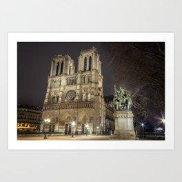 Notre Dame de Paris and Charlemagne Art Print
