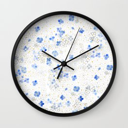 blue abstract hydrangea pattern Wall Clock