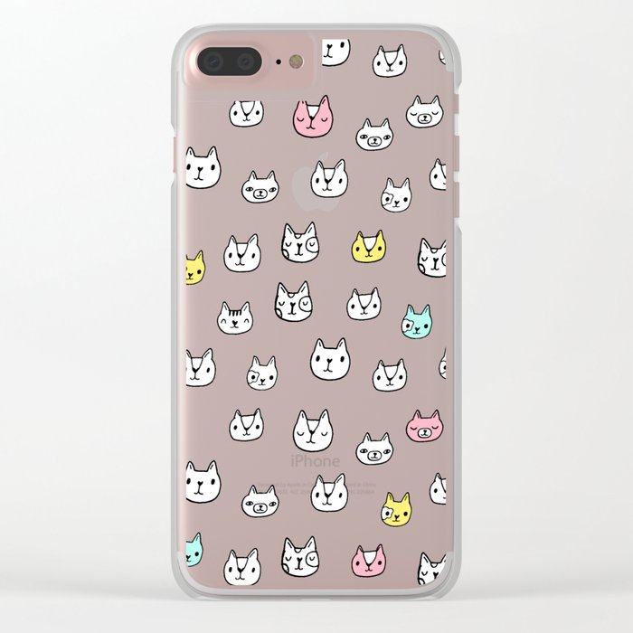 Sketchy Cats Clear iPhone Case