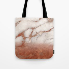 Shiny Copper Metal Foil Gold Ombre Bohemian Marble Tote Bag