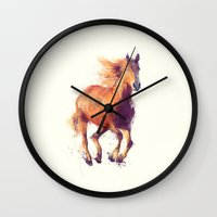 horse Wall Clocks featuring Horse // Boundless by Amy Hamilton