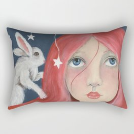 Red Head with Bunny Rectangular Pillow