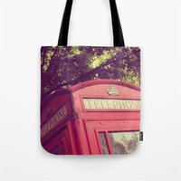 telephone Tote Bags featuring Telephone by AndreaClare