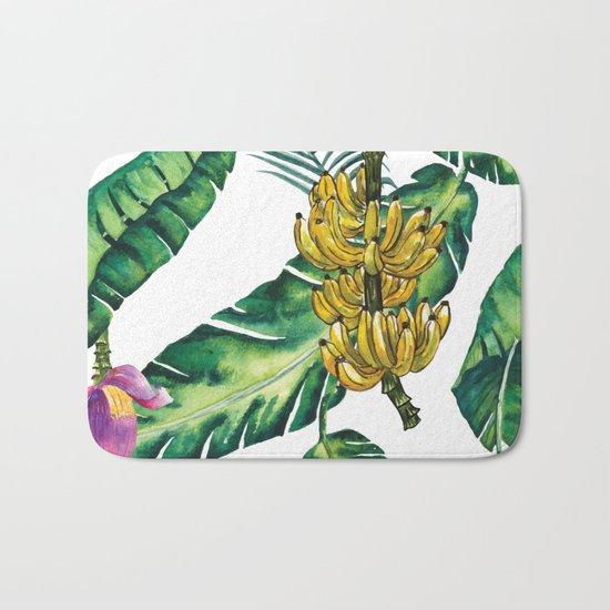 watercolor banana leaves Bath Mat