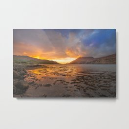 Sunset over Connemara fjord Metal Print