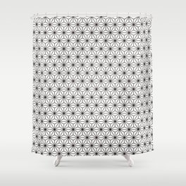Black/White Japanese Hemp Kimono Pattern Shower Curtain