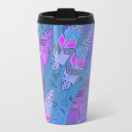The colorful feathers on blue background . Travel Mug