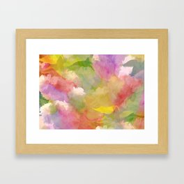 Rainbow Watercolor Floral Abstract Framed Art Print