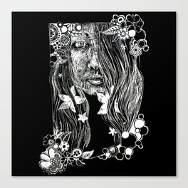 Black and White Flower Girl Line Cut Canvas Print