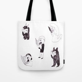horror readers & fluffy monsters Tote Bag