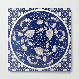 vintage background. Beautiful floral round pattern in chinese style. Simple delicate decor. Imitation of chinese porcelain painting. Blue watercolor background. Hand drawing.  Metal Print