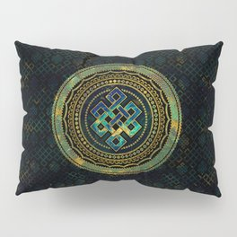 Marble and Abalone Endless Knot  in Mandala Decorative Shape Pillow Sham