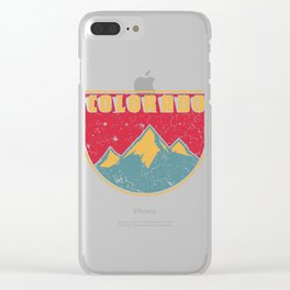 """Vintage Shirt For Colorado Lovers """"Colorado"""" Vintage T-shirt Design Mountaineers Climbing Hiking Clear iPhone Case"""