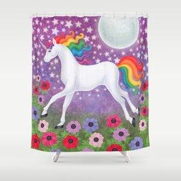 wanderlust (rainbow unicorn), moon and stars, anemone Shower Curtain