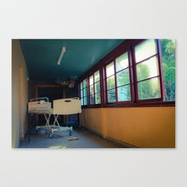 Hospital Bed in Hallway Canvas Print