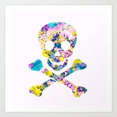 Hipster Skull Crossbones Yellow Floral Pattern Art Print