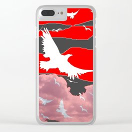 WHITE BIRDS IN FLIGHT RED-GREY SKY ABSTRACT Clear iPhone Case