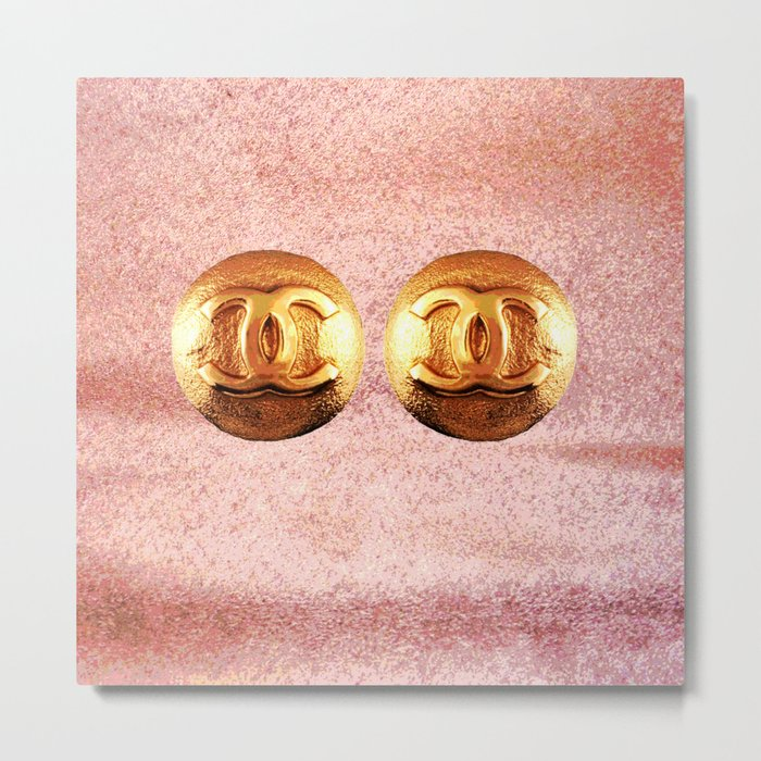 COCO GLAMOUR AND VINTAGE PAIR OF EARRINGS IN PINK Metal Print