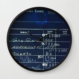 Library Card 23322 Negative Wall Clock