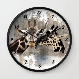 Snuggle Bug Giraffes Wall Clock