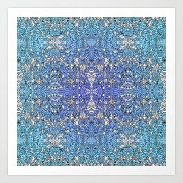 pattern of the oceans - cool tones blue purple doodle Art Print