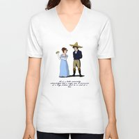 pride and prejudice V-neck T-shirts featuring Pride and Prejudice and Tacos by mikaelak