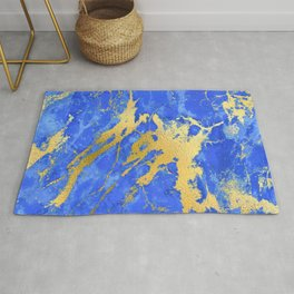Sapphire and Royal Blue Marble With Gold Veins Rug