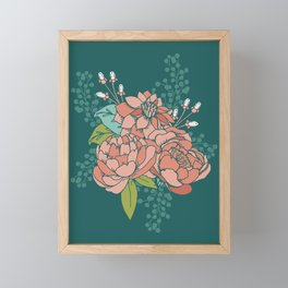 Moody Florals in Teal Framed Mini Art Print