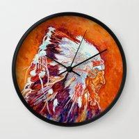 native american Wall Clocks featuring Native American by LiliyaChernaya