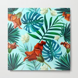 Tropical Leaves and Flowers on Teal Background Metal Print
