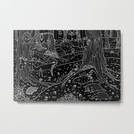 Nocturnal Animals of the Forest Metal Print