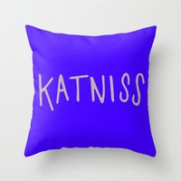 katniss Throw Pillows featuring Katniss by Annie Claire