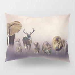 Group of wild animals . Wildlife theme background Pillow Sham