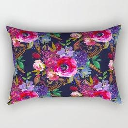Colorful bohemian pink blue lilac watercolor roses Rectangular Pillow
