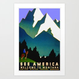 See America Montana - Retro Travel Poster Art Print