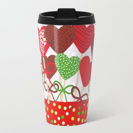 Christmas design Cake pops set with bow gray background with snowflakes. Travel Mug