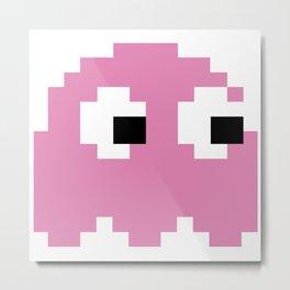 Pacman Ghost Pink Metal Print