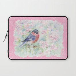 Bulfinch on the Sweet Lilac Blossom Laptop Sleeve