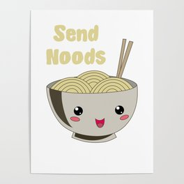 Send Noods Japanese Ramen Noodles Vintage Poster