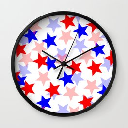 Patriotic Red and Blue Stars Wall Clock