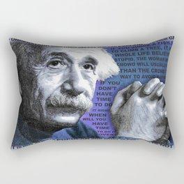 Albert Einstein and Quotes Blue Rectangular Pillow