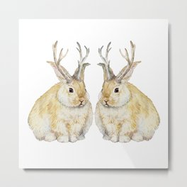 Watercolor Grumpy Jackalope Antler Bunny Metal Print