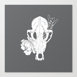 Floral Fox Skull (with background) Canvas Print